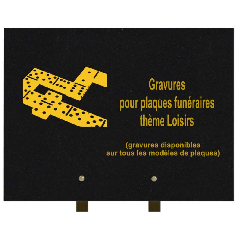PLAQUE FUNÉRAIRE 30X40 LOISIRS GRANIT SUR PIEDS