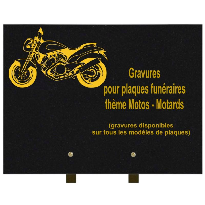 PLAQUE FUNÉRAIRE 30X40 MOTOS MOTARDS GRANIT SUR PIEDS
