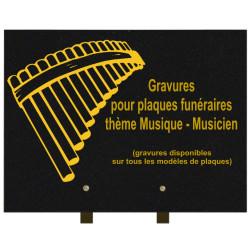 PLAQUE FUNÉRAIRE 30X40 MUSIQUE MUSICIENS GRANIT SUR PIEDS