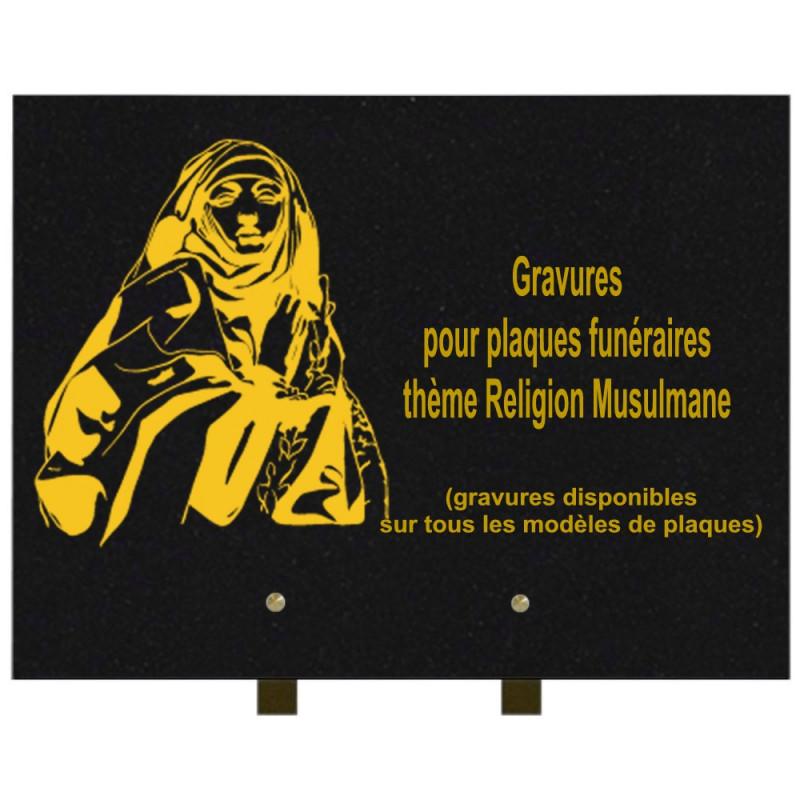 PLAQUE FUNÉRAIRE 30X40 RELIGIONS GRANIT SUR PIEDS