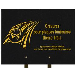 PLAQUE FUNÉRAIRE 30X40 TRAINS GRANIT SUR PIEDS