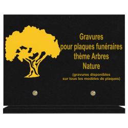 PLAQUE FUNÉRAIRE 20X30 ARBRES NATURE GRANIT SUR SOCLE