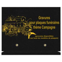 PLAQUE FUNÉRAIRE 20X30 CAMPAGNE GRANIT SUR SOCLE