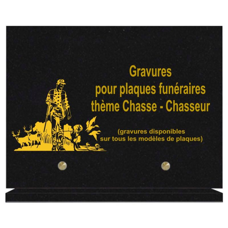 PLAQUE FUNÉRAIRE 20X30 CHASSEURS CHASSE GRANIT SUR SOCLE