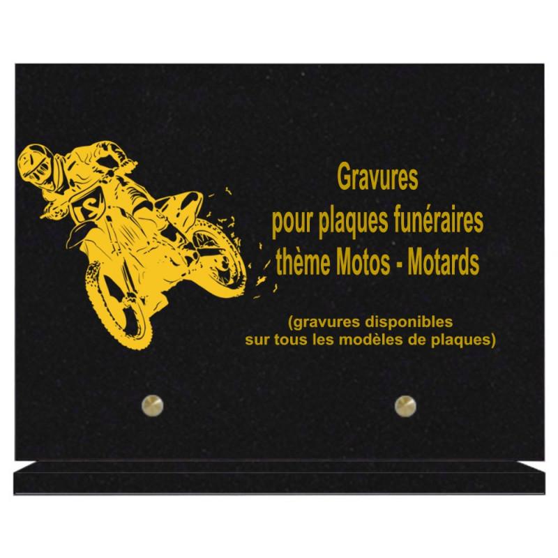 PLAQUE FUNÉRAIRE 20X30 MOTARDS MOTOS GRANIT SUR SOCLE
