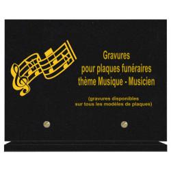 PLAQUE FUNÉRAIRE 20X30 MUSIQUE MUSICIENS GRANIT SUR SOCLE