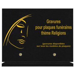 PLAQUE FUNÉRAIRE 20X30 RELIGIONS GRANIT SUR SOCLE