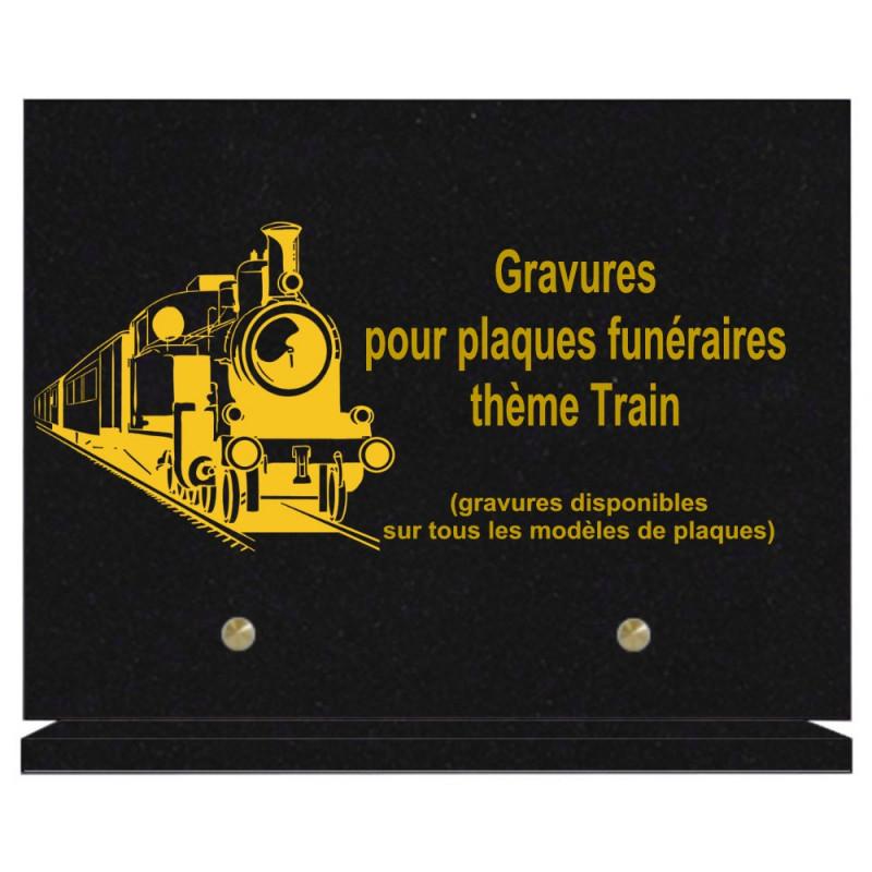 PLAQUE FUNÉRAIRE 20X30 TRAINS GRANIT SUR SOCLE
