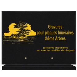 PLAQUE FUNÉRAIRE 25X35 ARBRES GRANIT SUR SOCLE