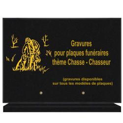 PLAQUE FUNÉRAIRE 25X35 CHASSE CHASSEUR GRANIT SUR SOCLE