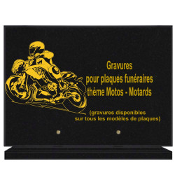PLAQUE FUNÉRAIRE 25X35 MOTOS MOTARDS GRANIT SUR SOCLE