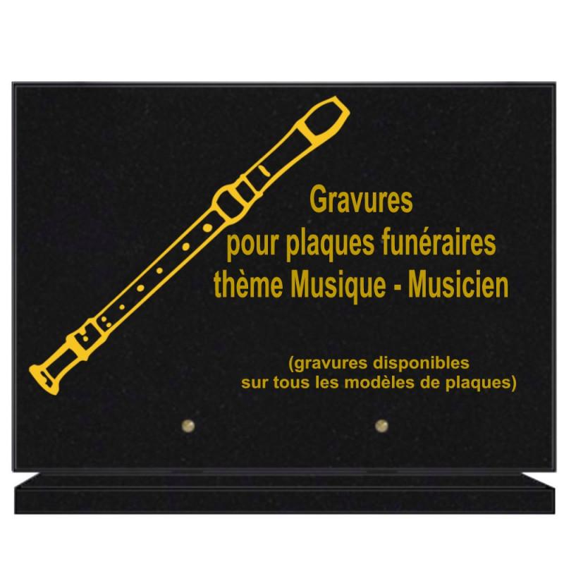 PLAQUE FUNÉRAIRE 25X35 MUSIQUE MUSICIEN GRANIT SUR SOCLE