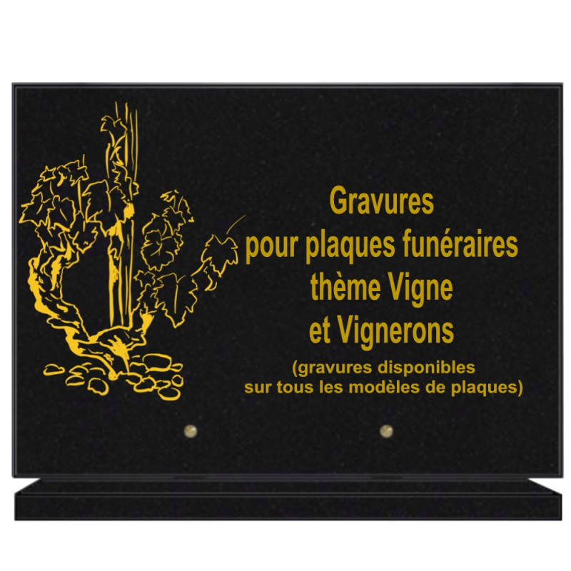 PLAQUE FUNÉRAIRE 25X35 VIGNE VIGNERON GRANIT SUR SOCLE