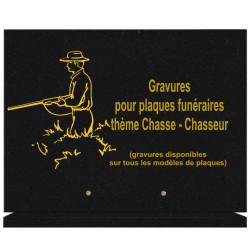 PLAQUE FUNÉRAIRE 30X40 SUR SOCLE GRANIT CHASSE CHASSEUR