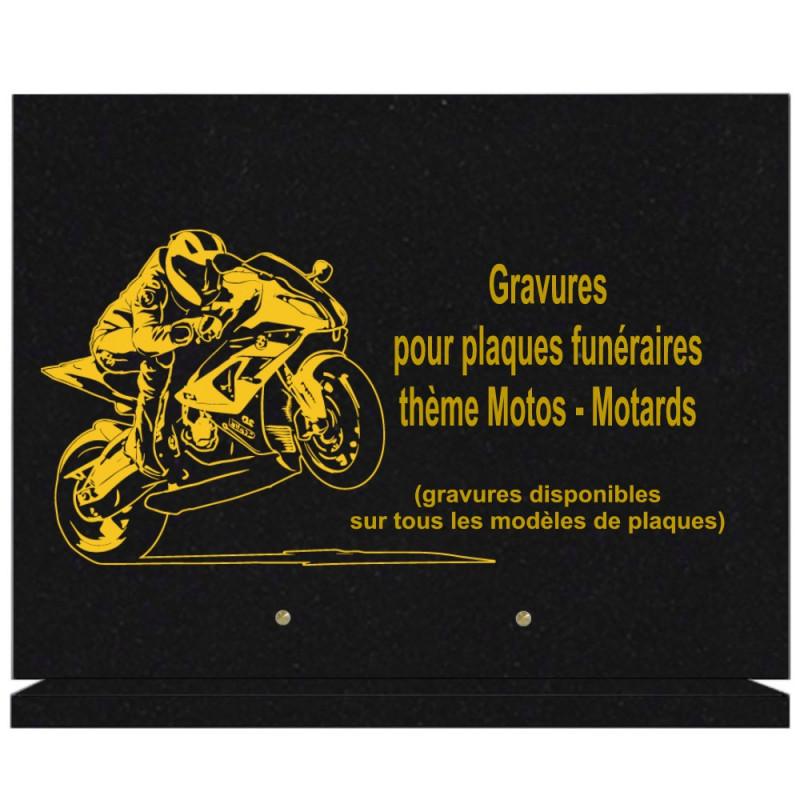 PLAQUE FUNÉRAIRE 30X40 SUR SOCLE GRANIT MOTOS MOTARDS