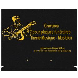PLAQUE FUNÉRAIRE 30X40 SUR SOCLE GRANIT MUSIQUE MUSICIENS