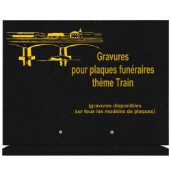 PLAQUE FUNÉRAIRE 30X40 SUR SOCLE GRANIT TRAINS
