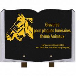 PLAQUE FUNÉRAIRE 25X35 LIVRE GRAVURES ANIMAUX SUR PIEDS