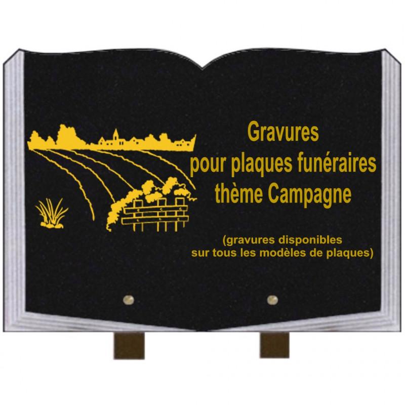 PLAQUE FUNÉRAIRE 25X35 LIVRE GRAVURES CAMPAGNE SUR PIEDS