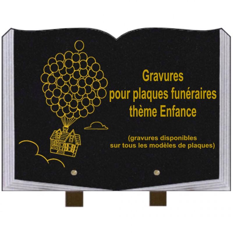 PLAQUE FUNÉRAIRE 25X35 LIVRE GRAVURES ENFANCE SUR PIEDS