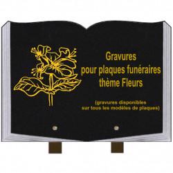 PLAQUE FUNÉRAIRE 25X35 LIVRE GRAVURES FLEURS SUR PIEDS