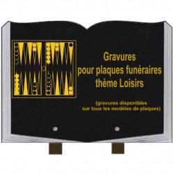 PLAQUE FUNÉRAIRE 25X35 LIVRE GRAVURES LOISIRS SUR PIEDS
