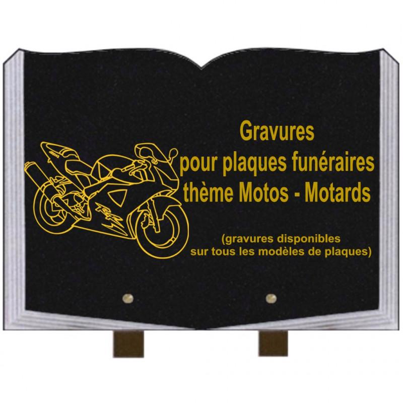 PLAQUE FUNÉRAIRE 25X35 LIVRE GRAVURES MOTARDS MOTOS SUR PIEDS