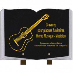 PLAQUE FUNÉRAIRE 25X35 LIVRE GRAVURES MUSICIENS MUSIQUE SUR PIEDS