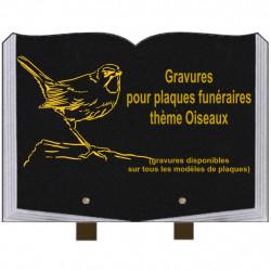 PLAQUE FUNÉRAIRE 25X35 LIVRE GRAVURES OISEAUX SUR PIEDS