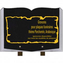 PLAQUE FUNÉRAIRE 25X35 LIVRE GRAVURES PARCHEMINS ARABESQUES SUR PIEDS