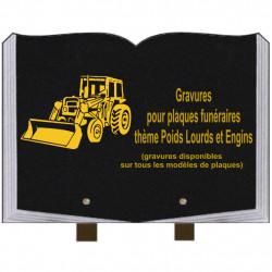 PLAQUE FUNÉRAIRE 25X35 LIVRE GRAVURES POIDS LOURDS ET ENGINS SUR PIEDS