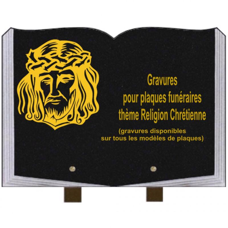 PLAQUE FUNÉRAIRE 25X35 LIVRE GRAVURES RELIGIONS SUR PIEDS
