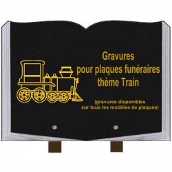 PLAQUE FUNÉRAIRE 25X35 LIVRE GRAVURES TRAINS SUR PIEDS
