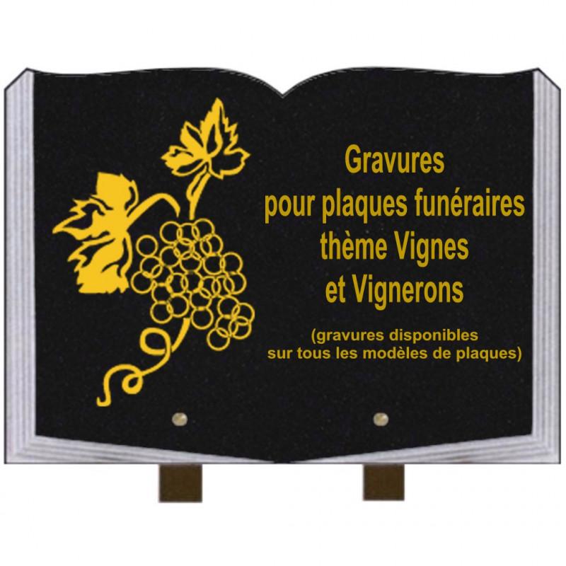 PLAQUE FUNÉRAIRE 25X35 LIVRE GRAVURES VIGNES ET VIGNERONS SUR PIEDS