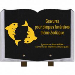 PLAQUE FUNÉRAIRE 25X35 LIVRE GRAVURES ZODIAQUE SUR PIEDS