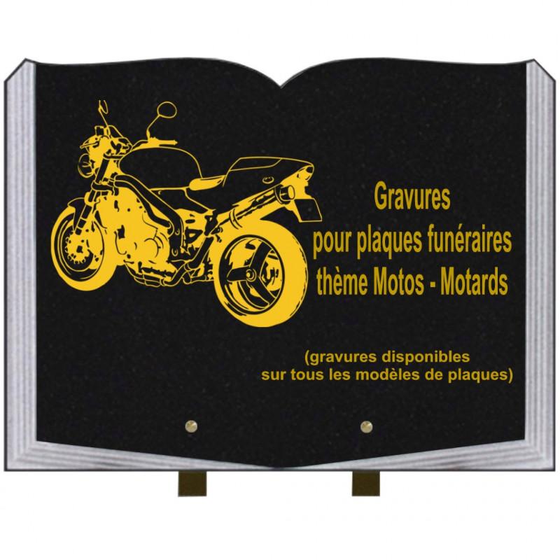 PLAQUE FUNÉRAIRE 30X40 LIVRE SUR PIEDS THÈME MOTOS MOTARDS