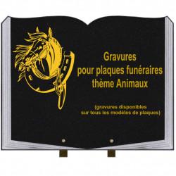 PLAQUE FUNÉRAIRE 35X45 LIVRE SUR PIEDS GRANIT ANIMAUX