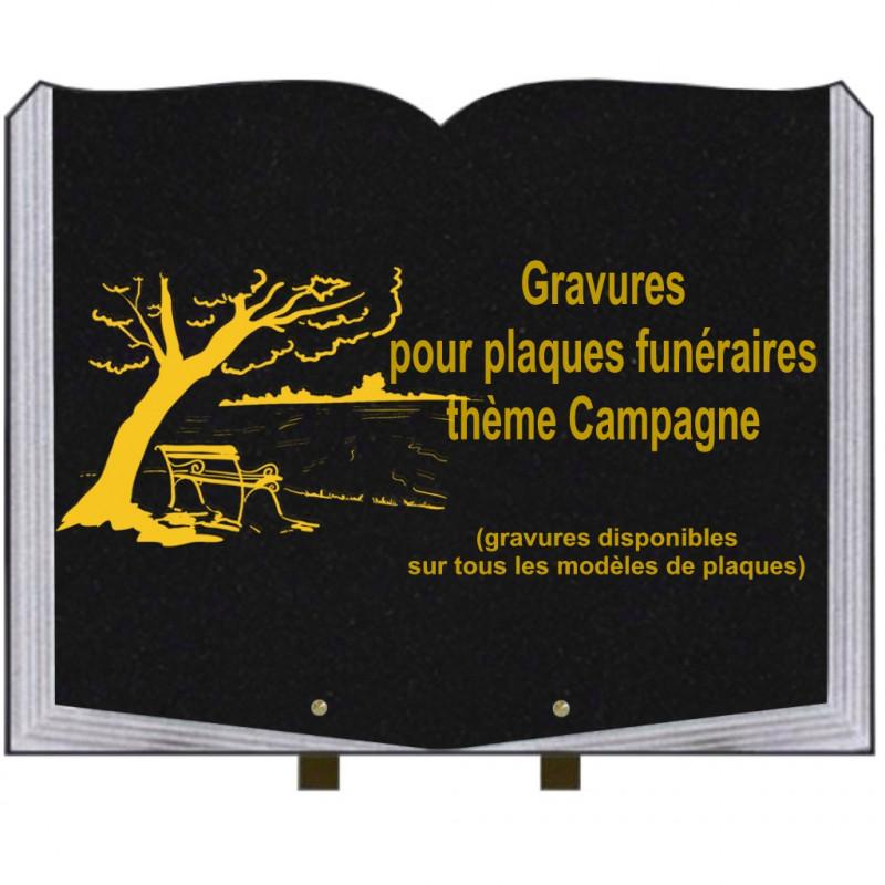 PLAQUE FUNÉRAIRE 35X45 LIVRE SUR PIEDS GRANIT CAMPAGNE