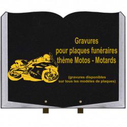 PLAQUE FUNÉRAIRE 35X45 LIVRE SUR PIEDS GRANIT MOTOS MOTARDS