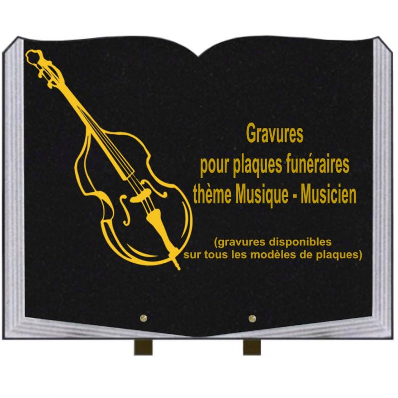 PLAQUE FUNÉRAIRE 35X45 LIVRE SUR PIEDS GRANIT MUSIQUE MUSICIENS