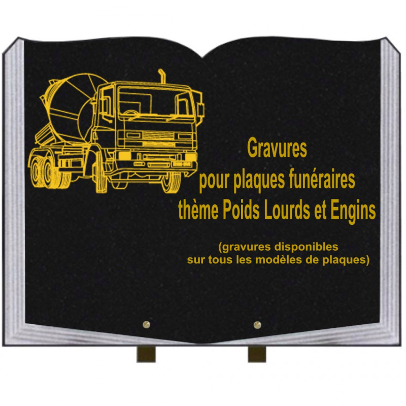 PLAQUE FUNÉRAIRE 35X45 LIVRE SUR PIEDS GRANIT POIDS LOURDS ET ENGINS