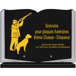 PLAQUE FUNÉRAIRE 25X35 LIVRE SOCLE CHASSEURS CHASSE