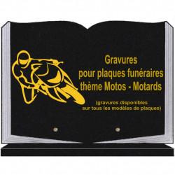 PLAQUE FUNÉRAIRE 25X35 LIVRE SOCLE MOTARDS MOTOS