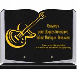 PLAQUE FUNÉRAIRE 25X35 LIVRE SOCLE MUSIQUE MUSICIENS