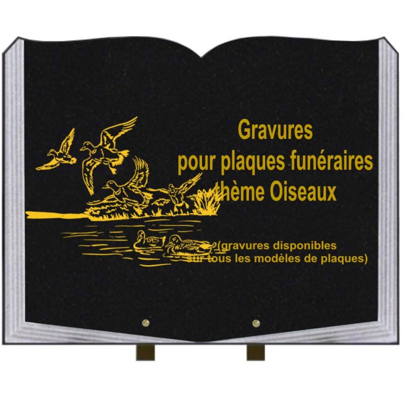 PLAQUE FUNÉRAIRE 35X45 LIVRE SUR PIEDS GRANIT OISEAUX