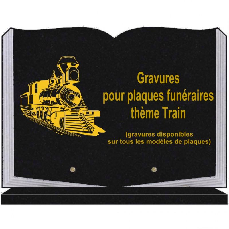 PLAQUE FUNÉRAIRE 25X35 LIVRE SOCLE TRAINS