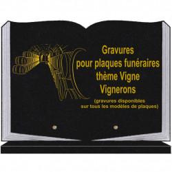PLAQUE FUNÉRAIRE 25X35 LIVRE SOCLE VIGNE VIGNERONS