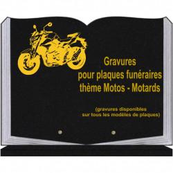 PLAQUE FUNÉRAIRE 30X40 LIVRE SUR SOCLE GRANIT MOTOS MOTARDS