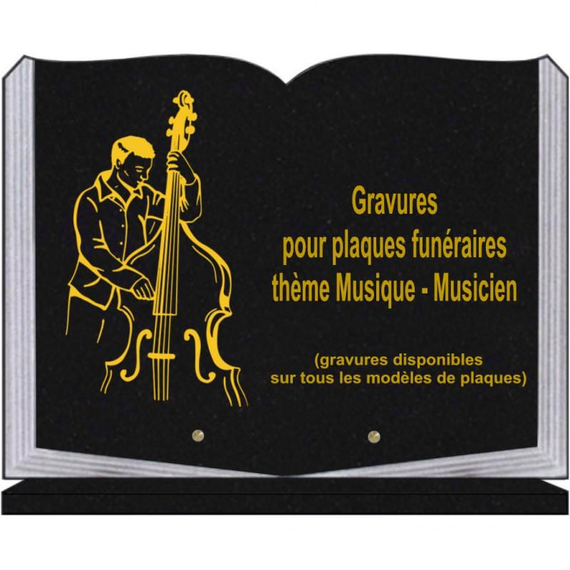 PLAQUE FUNÉRAIRE 30X40 LIVRE SUR SOCLE GRANIT MUSIQUE MUSICIENS