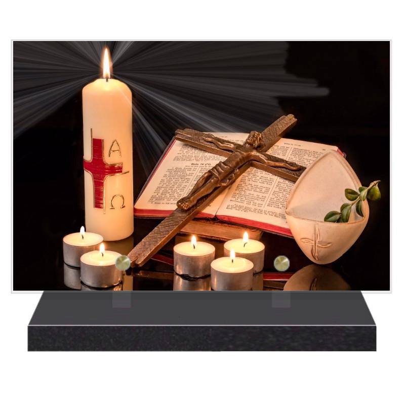 PLAQUE FUNÉRAIRE BOUGIES RELIGION 20 cm X 30 cm FPF5052